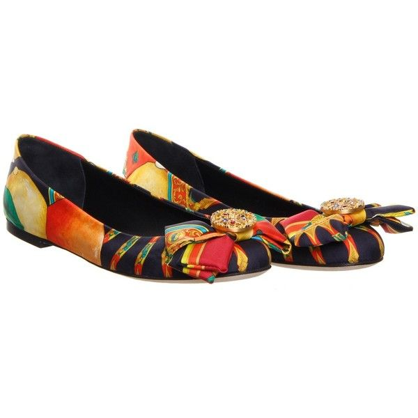 Dolce & Gabbana Multi- Coloured Printed Ballet Pump ($700) ❤ liked on Polyvore featuring shoes, flats, scarpe, leather flats, leather flat shoes, leather shoes, leather ballet flats and ballet shoes