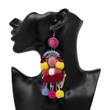 Wholesale Latest Design Hook Earring Product Hot Cheap Jewelry New Trend Model Thread Tassel Pom Pom Earrings Design