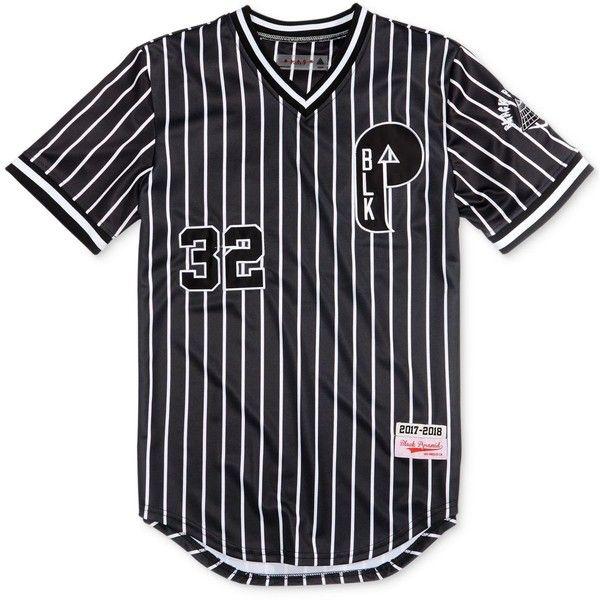 Black Pyramid Men's Striped Baseball Jersey ($60) ❤ liked on Polyvore featuring men's fashion, men's clothing, black, mens baseball jerseys, mens clothing and men's apparel