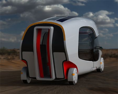 Rear view of the Colim Caravan Camper, one very futuristic motorhome don't you think?