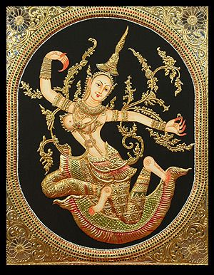 Tanjore paintings , (Indian): Tanjore Painting is a special, very old, minute type of painting named after the place Tanjore (Thanjavur in Tamil) in Tamil Nadu, a southern state of INDIA. These paintings are made by the 'cover with golden and gem-set technique' a method where gold colored leaves & sparkling stones are used to emphasize certain aspects of the paintings like ornaments, dresses etc. Tanjore Paintings are known for their art richness, vibrant colours and condensed composition