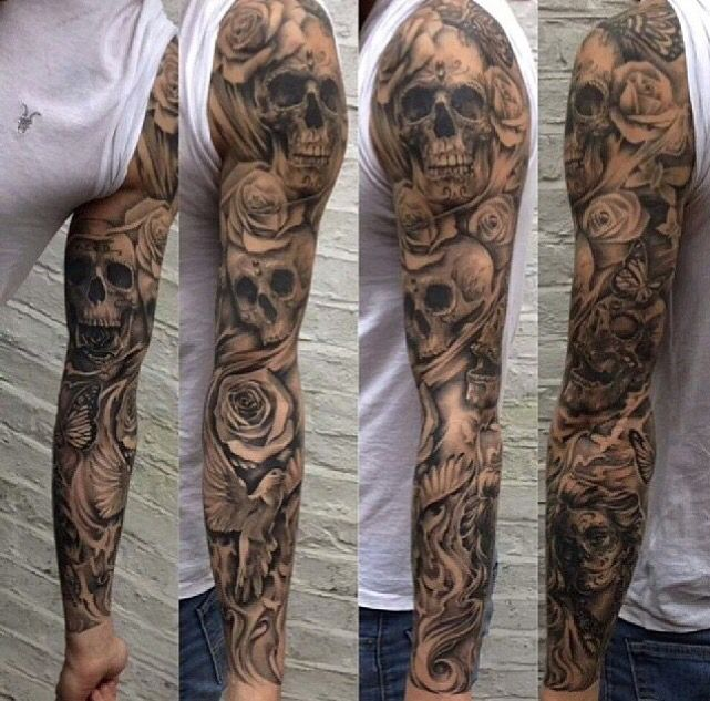 like the skulls, roses, bird, lines etc all intertwined.
