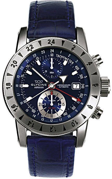 Glycine Watch Airman 9 #bezel-bidirectional #bracelet-strap-alligator…