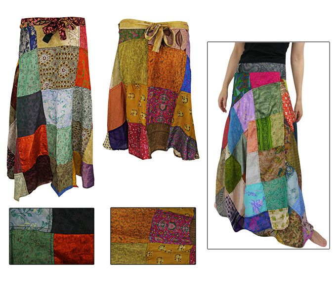 Recycled Sari Wraparound Skirt at The Animal Rescue Site