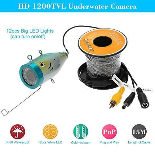 KKmoon Fish Finder Video Underwater Fishing Camera 15M Underwater Fish Finder HD 1200TVL CCTV Camera for Ice/Sea/River Fishing