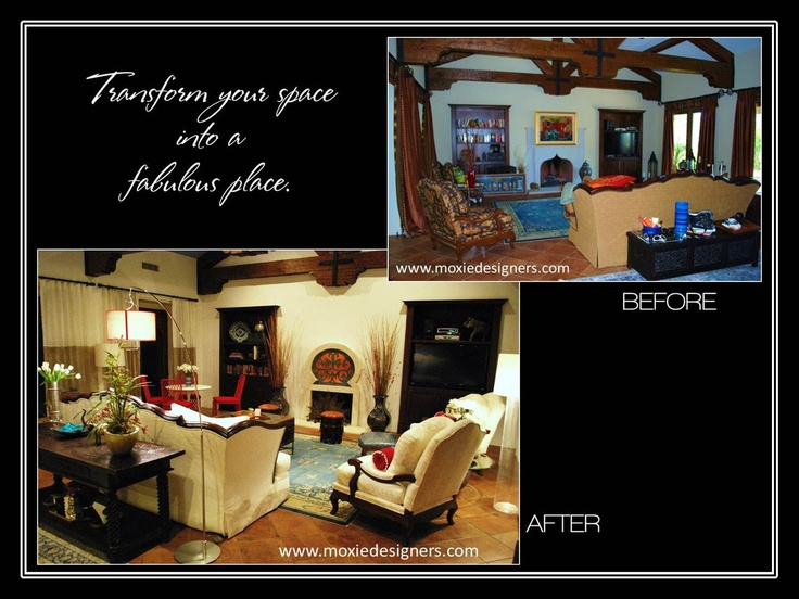Interior Design make-over accentuating transitional moroccan flaired living room with new furnishings, window treatments (aka window coverings, drapes or curtains), accessories, light fixtures, and a custom fireplace surround with wall murals (aka wall art, paint techniques, and faux finishes).