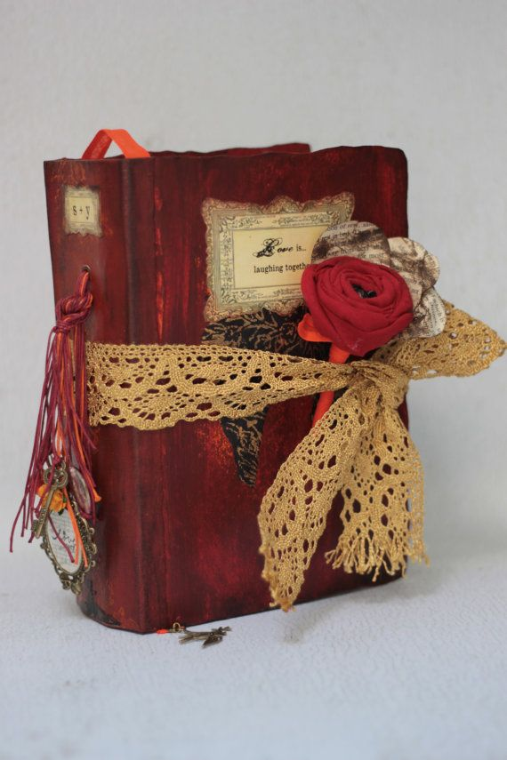 Rustic red Fall Autumn Wedding Guest Book and Photo Album - Fall colours  Wedding scrapbook 9x6 inch