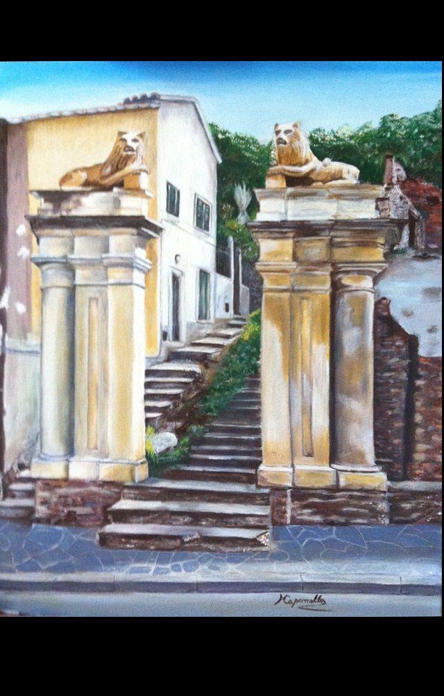 Ai Leoni di Monterosso, olio su tela 50x70