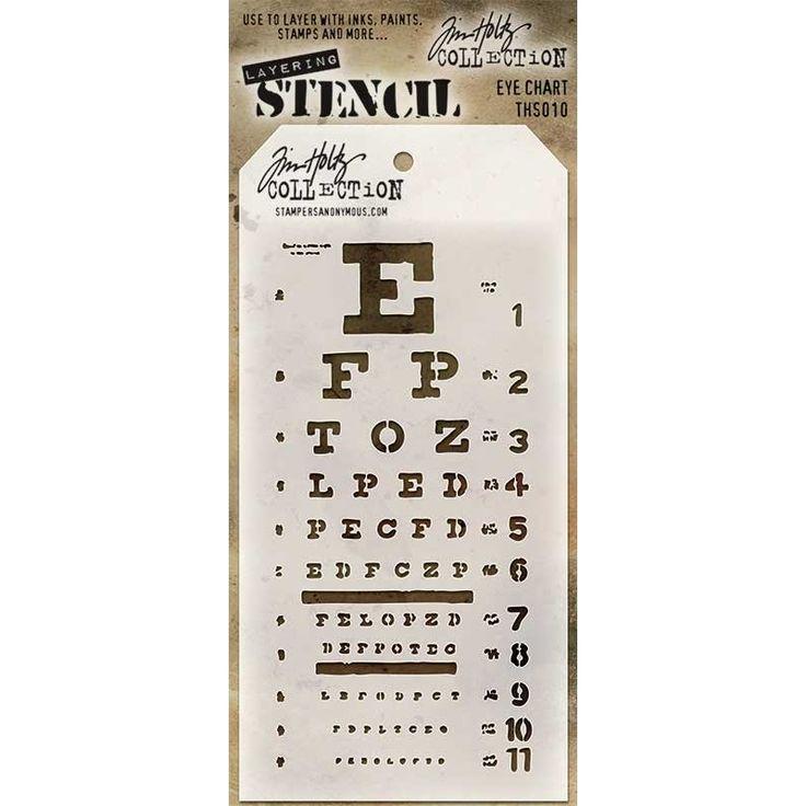 Tim Holtz Layering Stencil - Eye Chart THS010