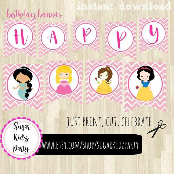 disney princess birthday, banner, pink gold banner, birtday pink, part banner, princess party, kids part, kids party, banner, happy birthday