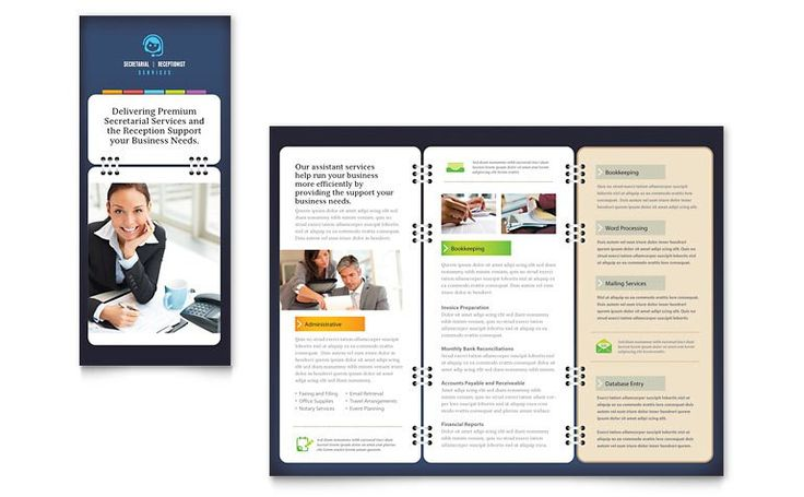 Secretarial services tri fold brochure template word publisher LayoutReady #SampleResume #MicrosoftWordPamphletTemplate