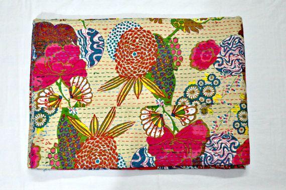 Beige Floral Kantha Quilt In Queen Beige Kantha by JaipurHandloom, $64.99