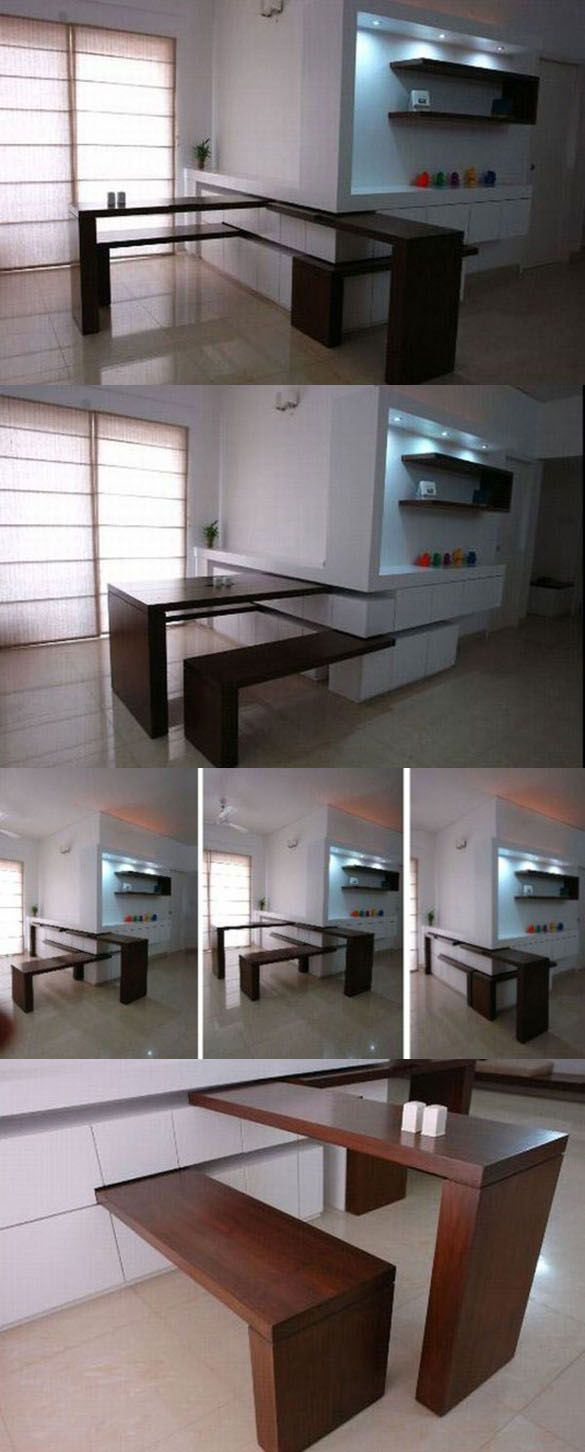 #Smartsolutions | #Multifunctional hidden kitchen elements | table + bench