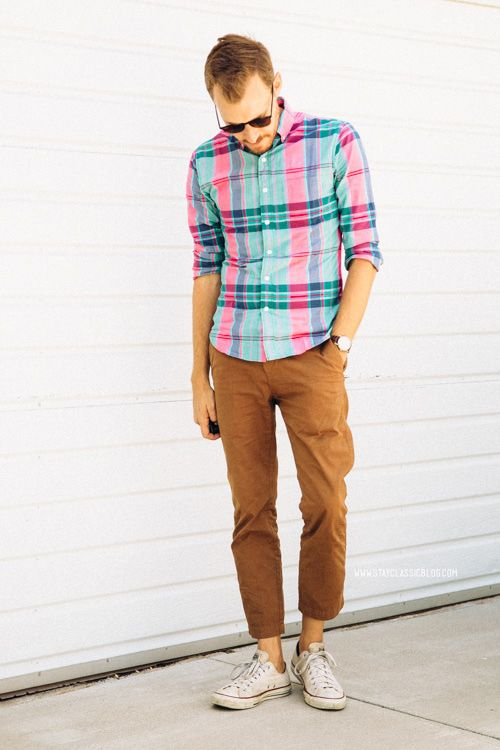 Shop this look for $104:  http://lookastic.com/men/looks/aquamarine-longsleeve-shirt-and-dark-brown-sunglasses-and-tobacco-chinos-and-white-low-top-sneakers/2992  — Aquamarine Plaid Longsleeve Shirt  — Dark Brown Sunglasses  — Tobacco Chinos  — White Low Top Sneakers