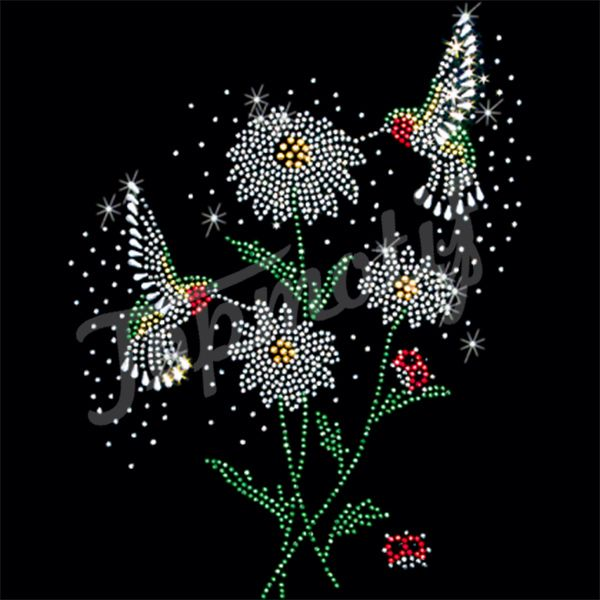 Flying hummingbirds flowers hot fix rhinestones for tshirt transfers