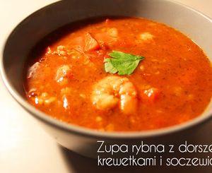Zupa rybna z dorszem, krewetkami i soczewicą