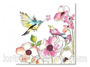 Салфетка для декупажа MAKI — Акварельные птицы и цветы, размер в развёрнутом виде 33x33 см
