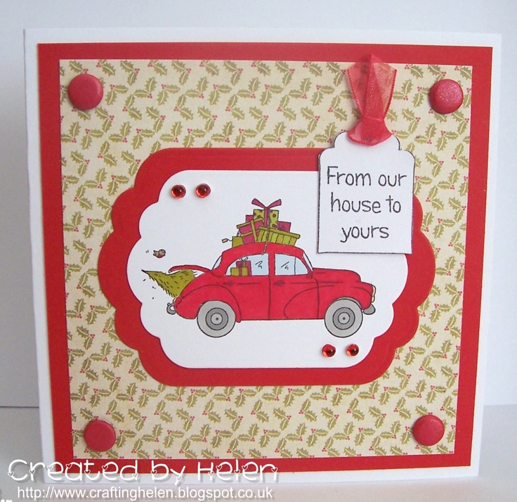 Card made using the new Little Claire Dinkies 'Christmas Car' stamp
