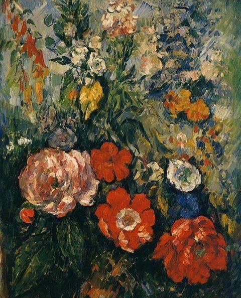 """Paul Cezanne.  """"Flowers in a Vase"""" 1873"""