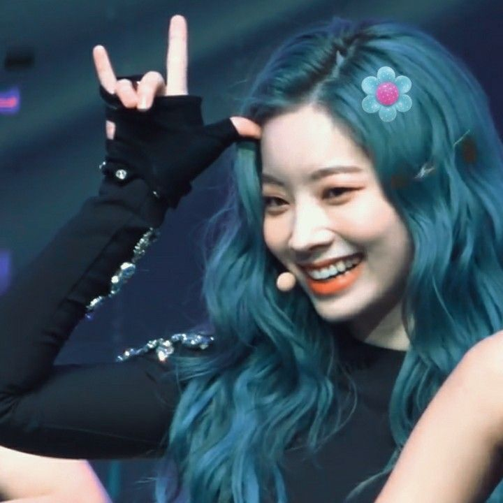 Twice Kim Dahyun Blue Hair Icon Kpop Aesthetic Blue Green Hair Hair Icon Turquoise Hair Color