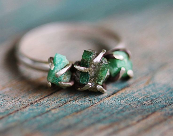 Triple Raw Emerald Sterling Silver Ring  Size 65 by GATHERJEWELRY, $140.00