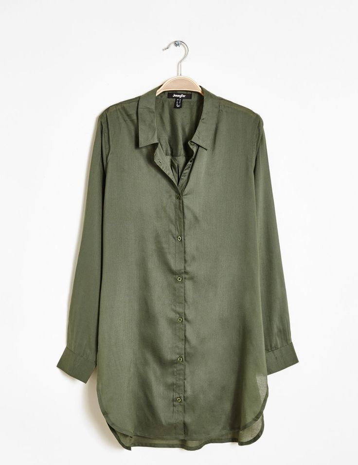 Chemise longue fentes côtées kaki femme • Jennyfer