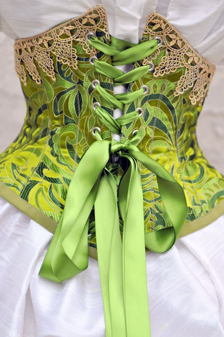 Green Silk Underbust Corset Victorian Clothing by LaBelleFairy