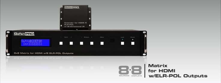 The GefenPro 8x8 Matrix for HDMI w/8 ELR-POL Outputs routes any eight HDMI sources and Bi-Directional IR control to eight different locations up to 330 feet (100 meters) away, using HDBaseT® over a single CAT-5e cable.