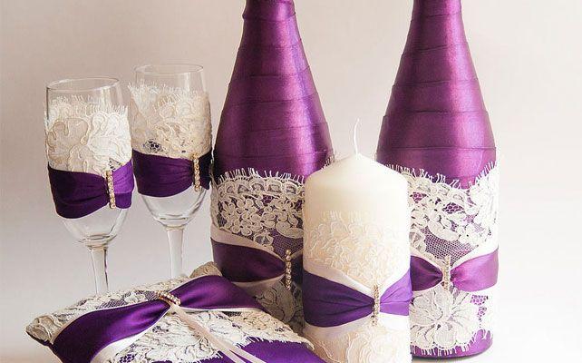 Как украсить бутылку шампанского на свадьбу?