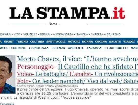 """O jornal italiano """"La Stampa"""" destaca a morte do presidente venezuelano, Hugo Chávez, nesta terça-feira, chamando- """"de último caudilho"""". O presidente foi vítima de um câncer na região pélvica, com o qual convivia há cerca de um ano e meio, aos 58 anos"""