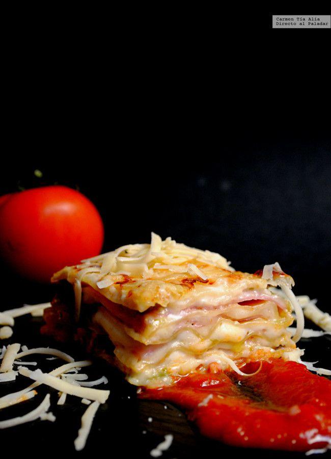 Lasaña de jamón, queso y pesto. Receta                                                                                                                                                                                 Más