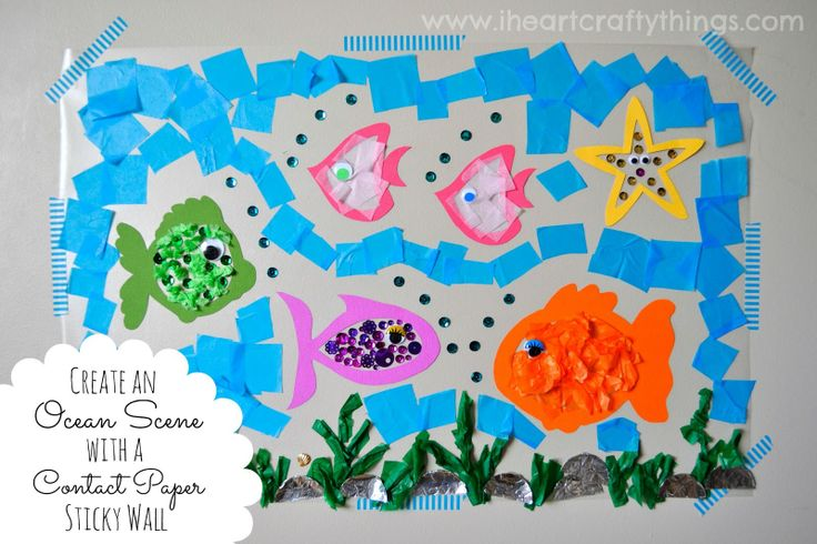 Sticky wall ocean craft contact paper tissue paper and for Sticky paper for crafts