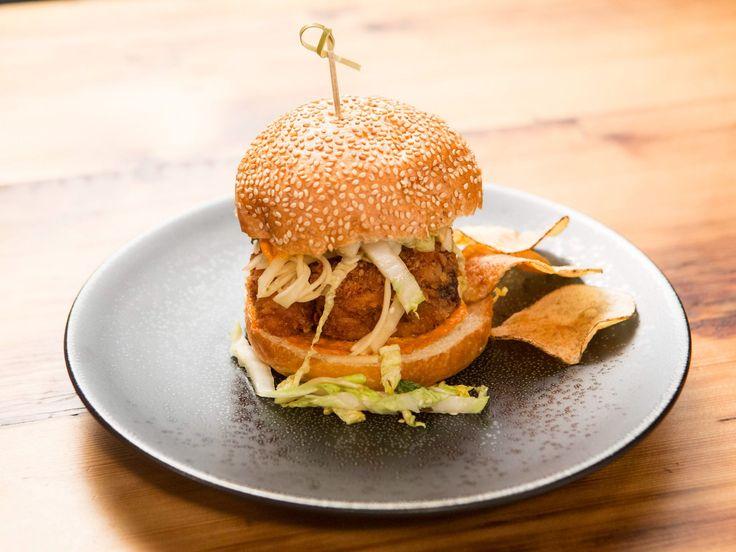 Fried Chicken Sandwich with Sriracha Aioli and Asian Slaw recipe from Beat Bobby Flay via Food Network