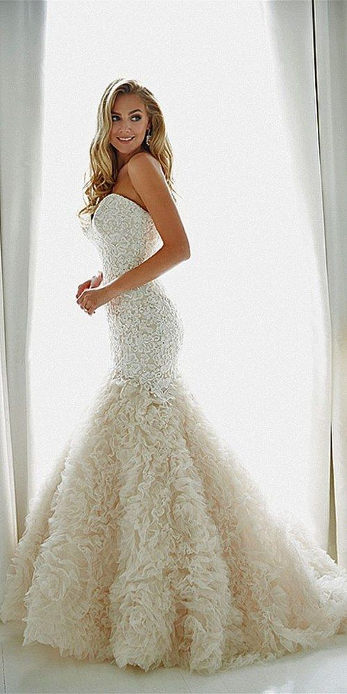 sweetheart strapless ruffles wedding dress…