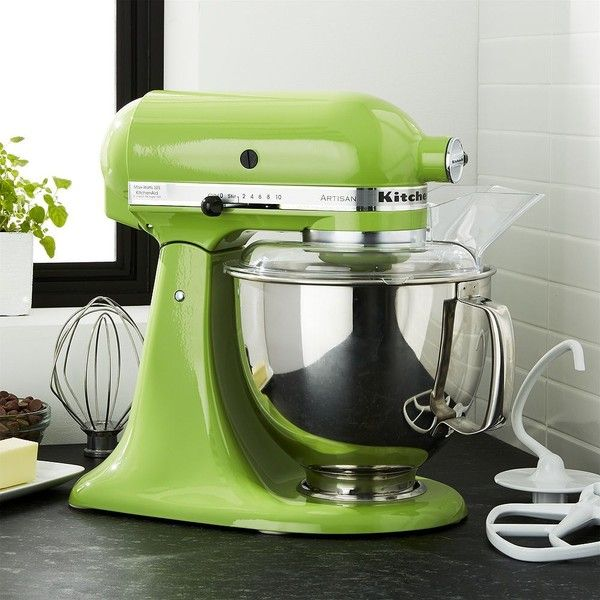 Crate & Barrel KitchenAid ® Artisan Green Apple Stand Mixer ($460) ❤ liked on Polyvore featuring home, kitchen & dining, small appliances, crate and barrel, kitchen aid stand mixers, heavy duty stand mixer, kitchenaid stand mixer and kitchenaid standing mixer