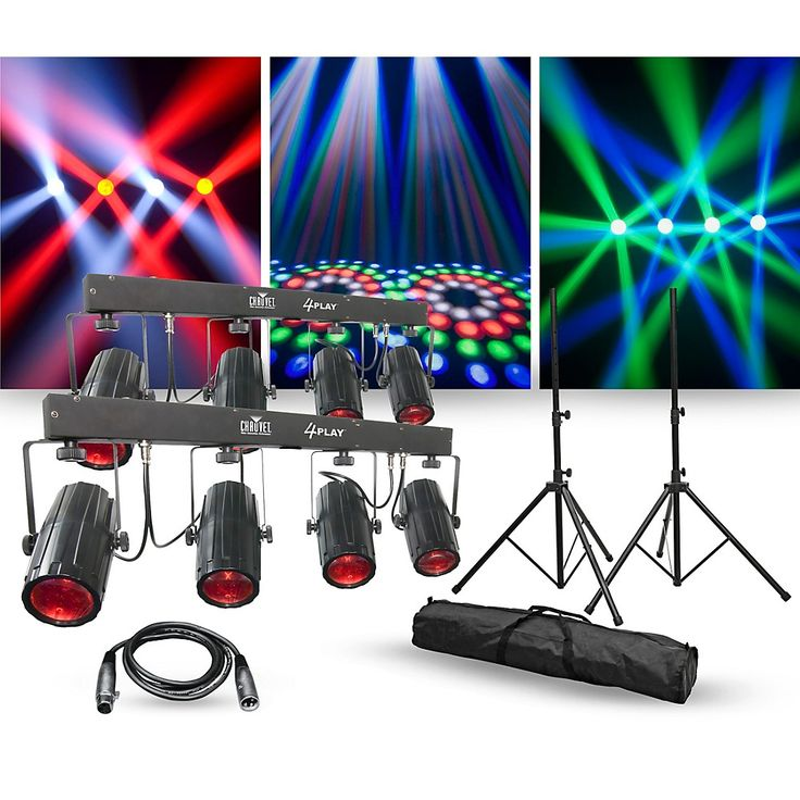 CHAUVET DJ Lighting Package with Two 4PLAY LED Effect Lights, Stands and Cable