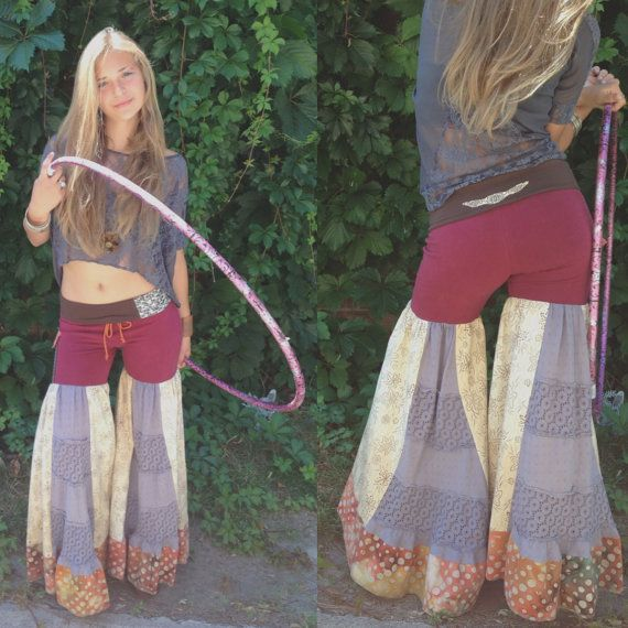 Patchwork Eco hoop Pants, S-L,  hippie pants, flare pants, dance pants, festival pants,patchwork pants, berry,cream and gray mix Zasra