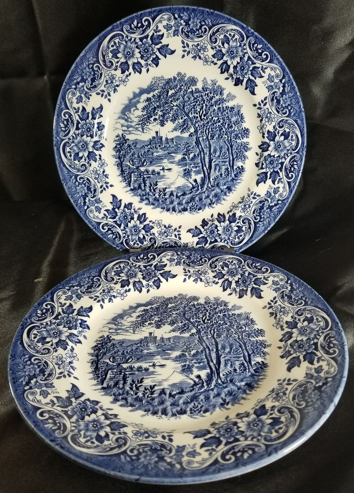 2 Churchill Blue English Scene Dinner Plates Fishing Castle Multiple Available Blue And White China Blue China Blue Dishes
