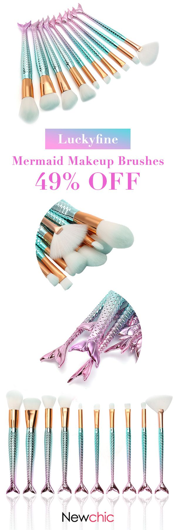 [Newchic Online Shopping] 49%OFF Luckyfine Mermaid Makeup Brushes Set