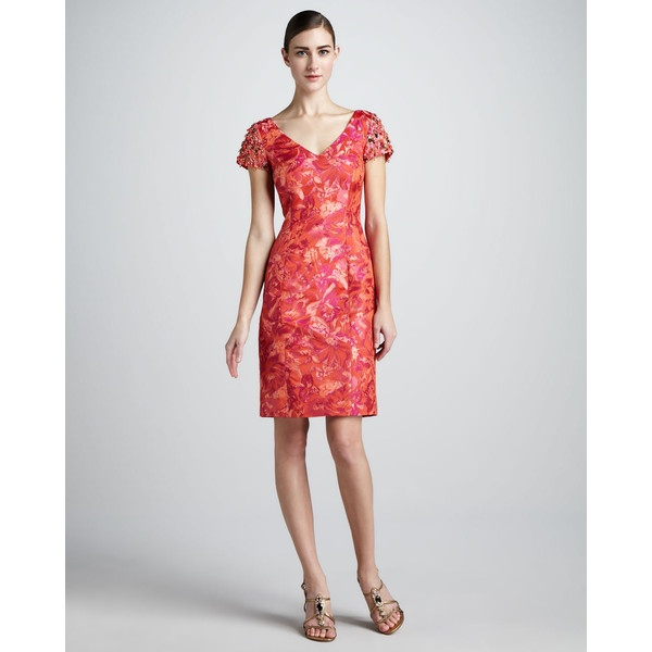 Rickie Freeman for Teri Jon Floral-Jacquard Cocktail Dress ($450) found on Polyvore