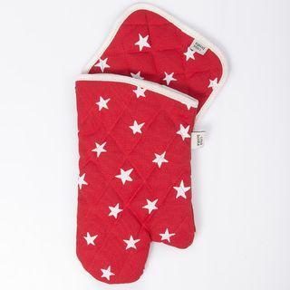 Set de agarradera y manopla Traful rojo estrellas blancas
