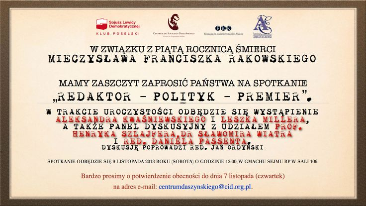 Zaproszenie na spotkanie w Sejmie!