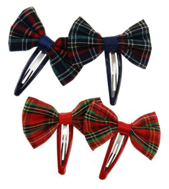 Red and Blue Tartan Hair Clips.