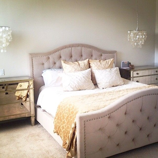 Never settle for a boring bedroom. Our stylish Nicolette Bed will ensure that you're always sleeping stylishly! Photo by @christinagkelly also features our Borghese Mirrored 3 Drawer Chests and Benito Velvet Bedding.