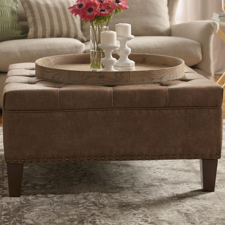 Exceptional Madison Park Madison Park Lindsey Leather Tufted Square Cocktail Ottoman