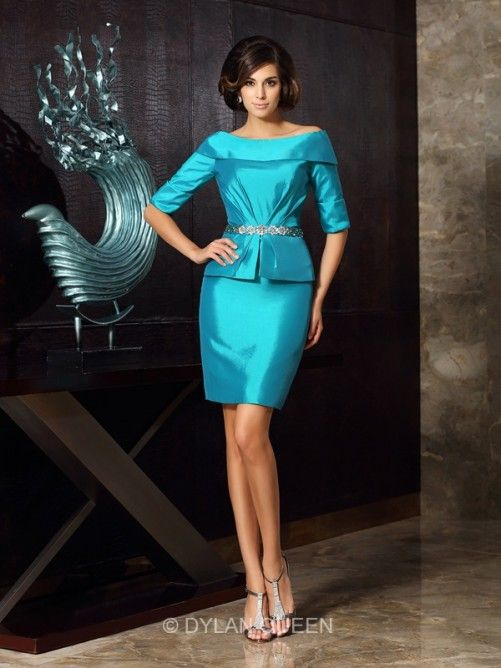 Sheath/Column 1/2 Sleeves Off-the-Shoulder Taffeta Knee-Length Mother of the Bride Dresses