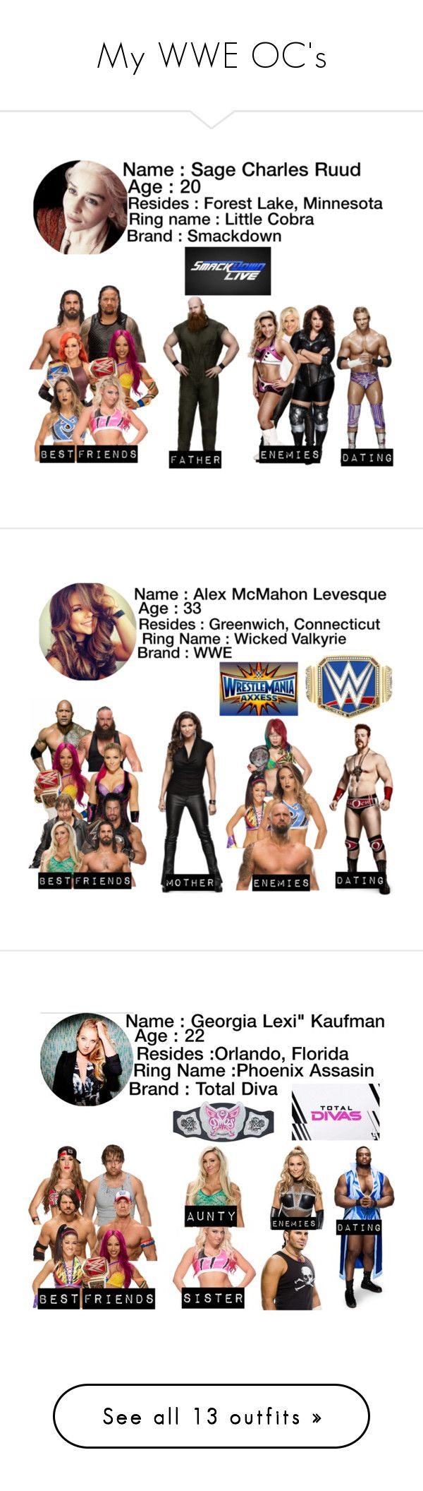 """My WWE OC's"" by moon-and-back-babe123 ❤ liked on Polyvore featuring Ryder, WWE, Braun, Karl Lagerfeld, GET LOST, CENA, Episode, Champion, Kane and Disney"