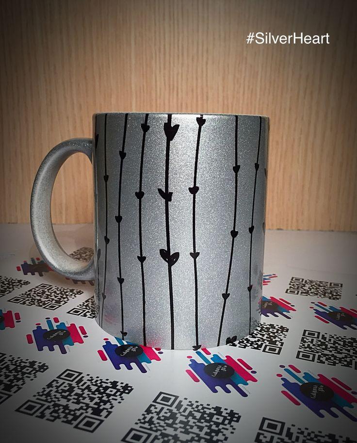 Mug Plateado de corazones #SilverHeart #MugPersonalizados, Pidelo ya en Facebook.com/GalajumaStore