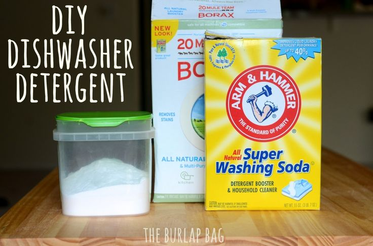 DIY Dishwasher Detergent.  Combine equal parts washing soda and borax in a container.   Put one tablespoon in the dishwasher.  Dishes are shiny and clean.  **Also can put vinegar in rinse aid compartment**