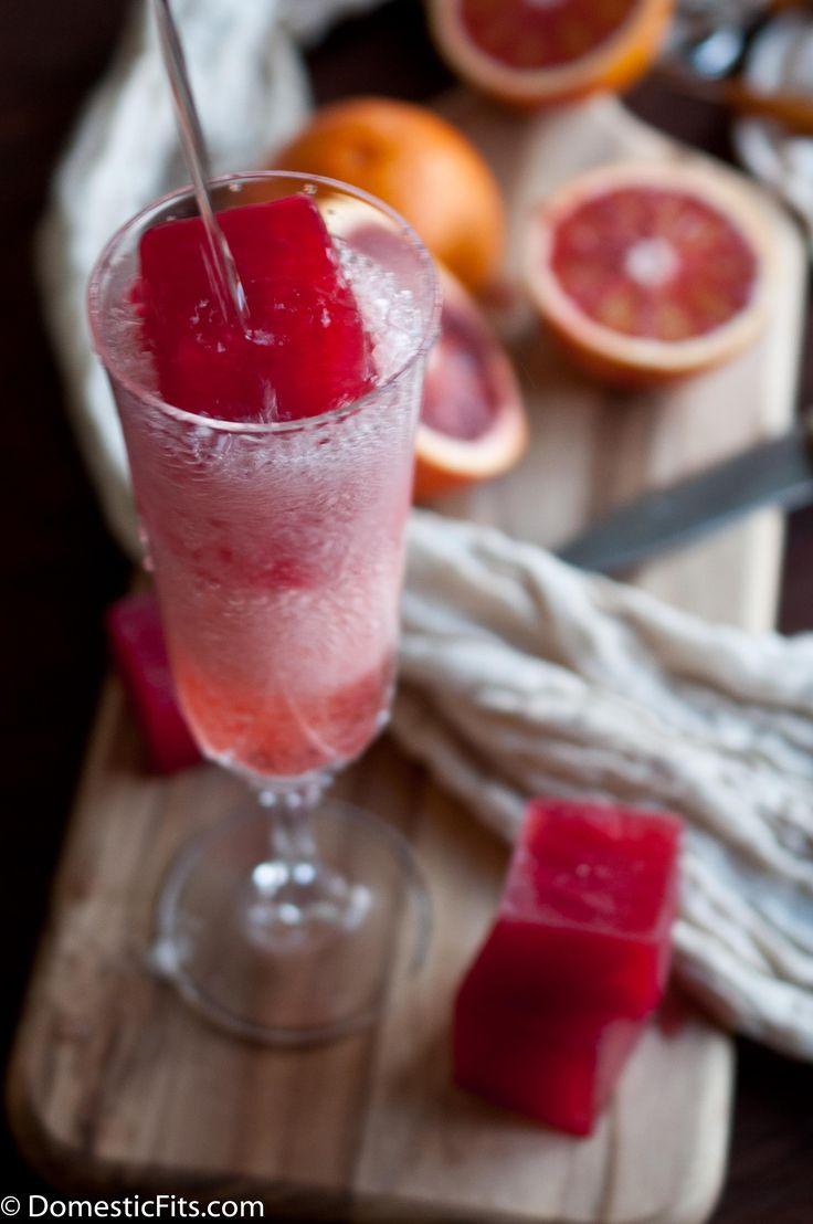 Blood Orange Ice Cubes + Champagne
